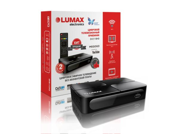 Приставка для цифрового эфирного/кабельного ТВ DVB-T2/DVB-C Lumax DV2118HD
